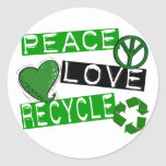 PEACE LOVE RECYCLE 1 T-Shirts & Gifts Round Sticker
