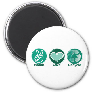 Peace Love Recycle 6 Cm Round Magnet