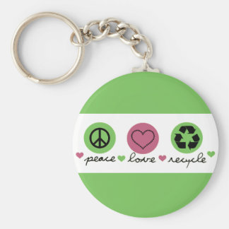 Peace, Love, Recycle. Basic Round Button Key Ring