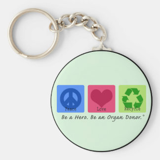 Peace Love Recycle Basic Round Button Key Ring