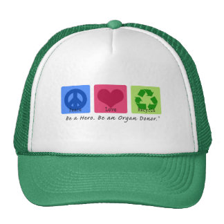 Peace Love Recycle Hats