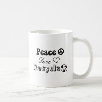 Peace, Love, Recycle Basic White Mug