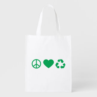 Peace Love Recycle Reusable Grocery Bag