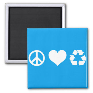 Peace Love Recycle Square Magnet