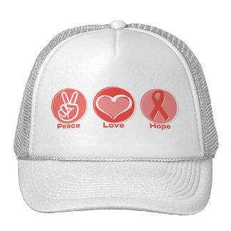 Peace Love Red Ribbon Hope Cap