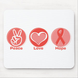 Peace Love Red Ribbon Hope Mouse Pad