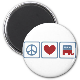 Peace Love Republicans 6 Cm Round Magnet