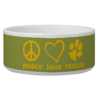 Peace/Love/Rescue Bowl-Green