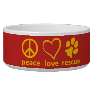 Peace/Love/Rescue Bowl-Red