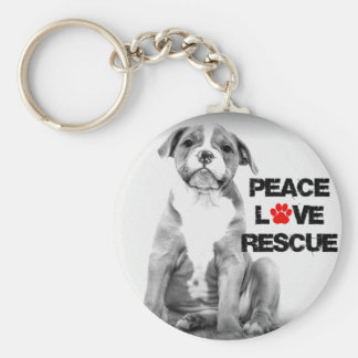 Peace Love Rescue Dog Key Ring