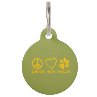 Peace/Love/Rescue GRRNT Dog Tag