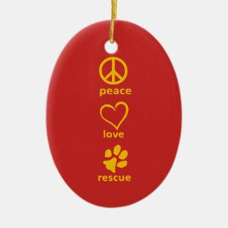 Peace/Love/Rescue Ornament