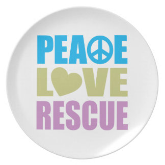 Peace Love Rescue Plate