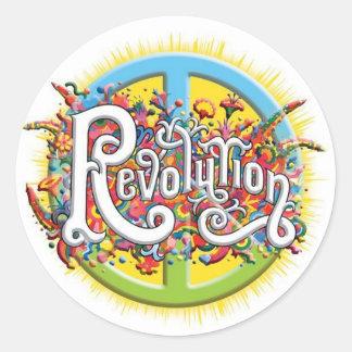 Peace, Love, Revolution Round Stickers