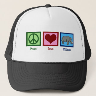 Peace Love Rhinos Trucker Hat