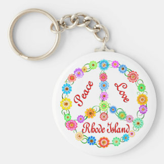 Peace Love Rhode Island Key Ring