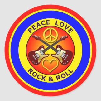 PEACE LOVE ROCK AND ROLL ROUND STICKER