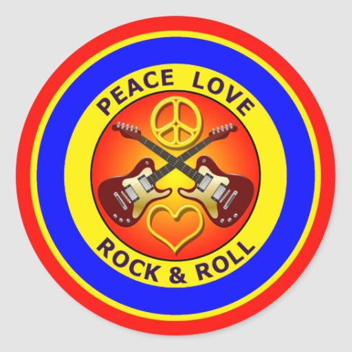 PEACE LOVE ROCK AND ROLL STICKER