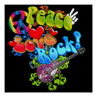Peace Love Rock Poster
