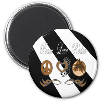 Peace Love Rodeo 6 Cm Round Magnet