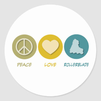 Peace Love Rollerblade Round Stickers