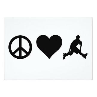 Peace Love Rollerblading 13 Cm X 18 Cm Invitation Card