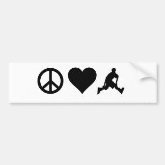 Peace Love Rollerblading Bumper Sticker