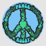 Peace love Rugby Round Sticker
