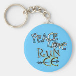PEACE LOVE RUN CC - Cross Country Basic Round Button Key Ring