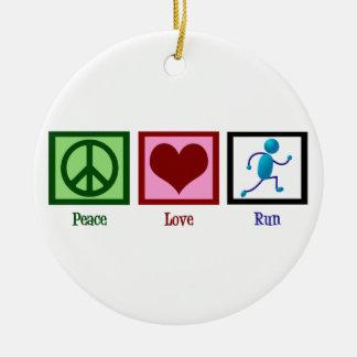 Peace Love Run Christmas Ornament
