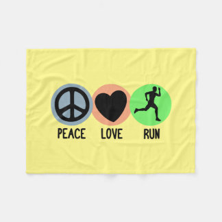 Peace Love Run Fleece Blanket