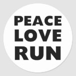 Peace Love Run Round Sticker