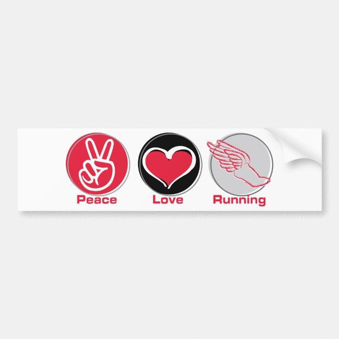Peace Love Running Bumper Sticker