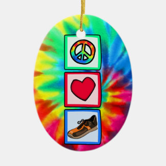 Peace, Love, Running Ceramic Oval Decoration