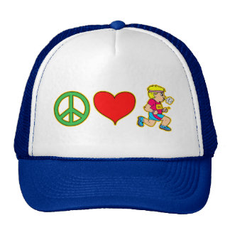 Peace Love Running Cute Runners Products Trucker Hat