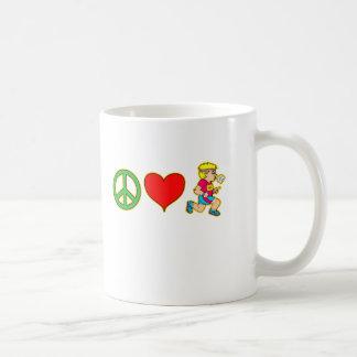 Peace Love Running Cute Runners Products Basic White Mug