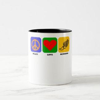 Peace Love Running Two-Tone Coffee Mug