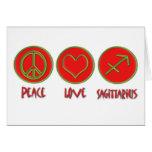 Peace Love Sagittarius Greeting Cards