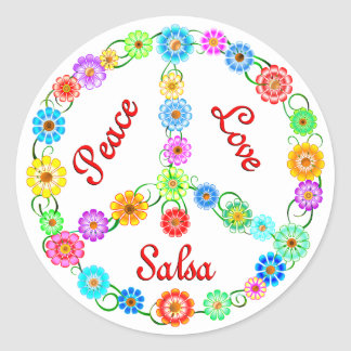 Peace Love Salsa Round Stickers