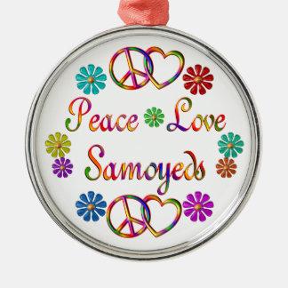 PEACE LOVE SAMOYEDS CHRISTMAS ORNAMENT