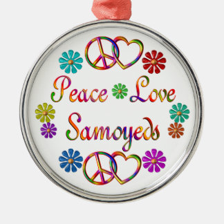 PEACE LOVE SAMOYEDS Silver-Colored ROUND DECORATION