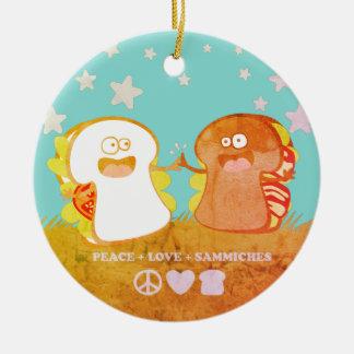 peace love sandwich funny food Christmas ornament