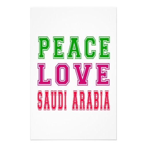 Peace Love Saudi Arabia Custom Stationery