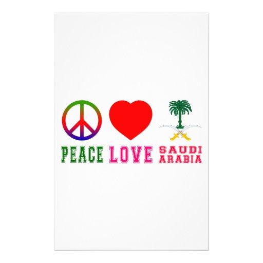 Peace Love Saudi Arabia Personalized Stationery
