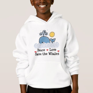 Peace Love Save The Whales Kids Hooded Sweatshirt