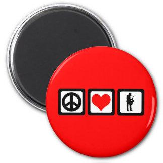 Peace love saxophone 6 cm round magnet
