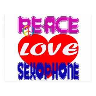 Peace Love Saxophone Postcard