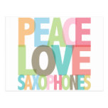 Peace Love Saxophones Tees & Gifts Post Card