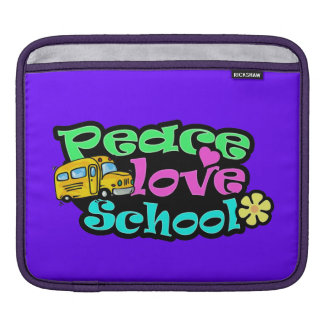 Peace Love School Retro iPad Sleeve