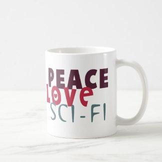 Peace Love Sci-Fi Basic White Mug